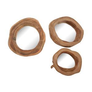 "Teak - 2"" Wood Mirror (Set of 3)"