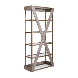 Jordrock - Transitional Style w/ ModernFarmhouse inspirations - Metal and Wood Bookcase - 80 Inches tall 38 Inches wide