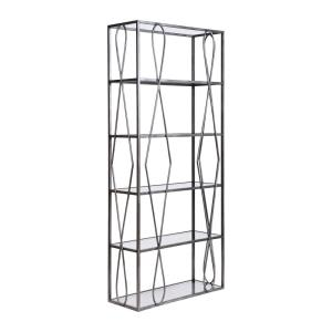 Neutro - Transitional Style w/ Luxe/Glam inspirations - Glass and Metal Bookcase - 84 Inches tall 36 Inches wide