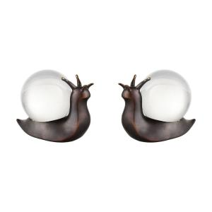 Modern/Contemporary Style w/ Luxe/Glam inspirations - Composite and Glass 5.71 Inch Slug it Out Object (Set of 2) - 4 Inches tall 6 Inches wide