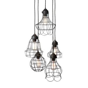 Wire - Transitional Style w/ Urban/Industrial inspirations - Iron 5 Light Mini Pendant - 10 Inches tall 6 Inches wide