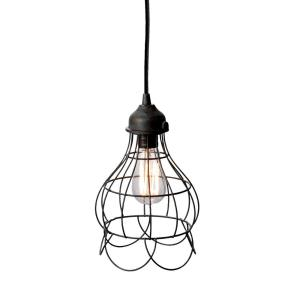 Wire - Transitional Style w/ Urban/Industrial inspirations - Iron 1 Light Mini Pendant - 12 Inches tall 6 Inches wide