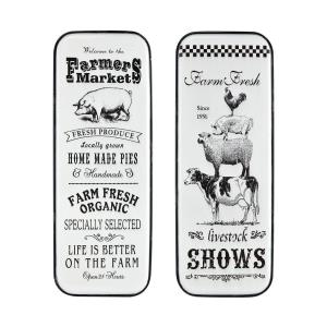 Almanac - traditional Style w/ ModernFarmhouse inspirations - Metal Wall Decor (Set of 2) - 41 Inches tall 15 Inches wide