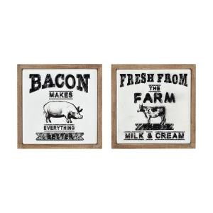 Almanac - traditional Style w/ ModernFarmhouse inspirations - Metal and Wood Wall Decor (Set of 2) - 18 Inches tall 18 Inches wide