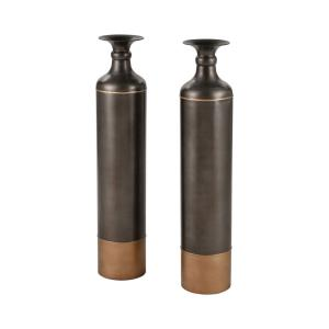 Bison - Transitional Style w/ Luxe/Glam inspirations - Metal Vase (Set of 2) - 36 Inches tall 7 Inches wide