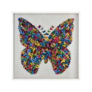 Butterfly - Modern/Contemporary Style w/ Luxe/Glam inspirations - Glass and Paper and Wood Wall Decor - 47 Inches tall 47 Inches wide