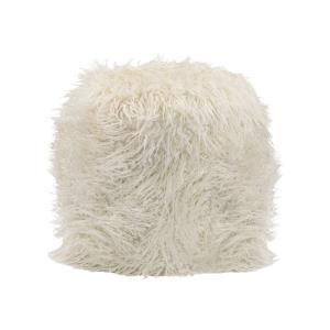 Betty - Transitional Style w/ Luxe/Glam inspirations - Faux Fur and Metal Retro Ottoman - 19 Inches tall 15 Inches wide