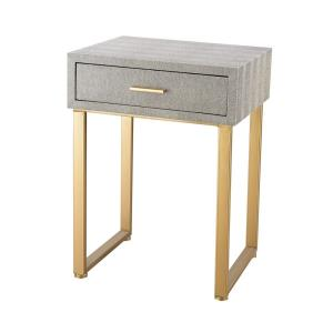 Beaufort - Transitional Style w/ Luxe/Glam inspirations - Metal and Wood Accent Side Table with Drawer - 22 Inches tall 16 Inches wide