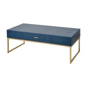 Comtesse - Transitional Style w/ Luxe/Glam inspirations - Faux Shagreen and Metal Accent Table - 25 Inches tall 16 Inches wide