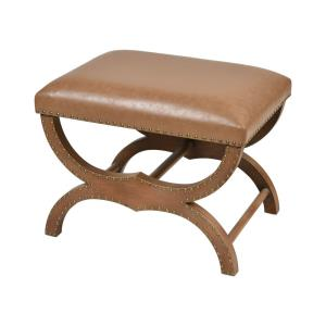 Bridle - Transitional Style w/ Rustic inspirations - Faux Leather and Wood Single Bench - 20 Inches tall 24 Inches wide