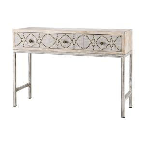 Albiera - Transitional Style w/ FrenchCountry inspirations - Fabric and Metal and Wood 3-Drawer Desk - 33 Inches tall 47 Inches wide