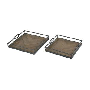 Circa - Transitional Style w/ ModernFarmhouse inspirations - Fir Wood and Metal Tray (Set of 2) - 3 Inches tall 18 Inches wide