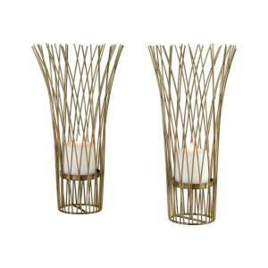 """Waves of Grain - 16"""" Candle Holder (Set of 2)"""