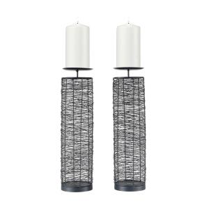 Electromagnetic - Modern/Contemporary Style w/ Luxe/Glam inspirations - Metal Candle Holder (Set of 2) - 17 Inches tall 5 Inches wide