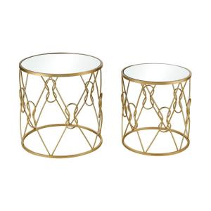Mental Note - Transitional Style w/ Urban/Industrial inspirations - Glass and Metal Accent Table (Set of 2) - 20 Inches tall 20 Inches wide