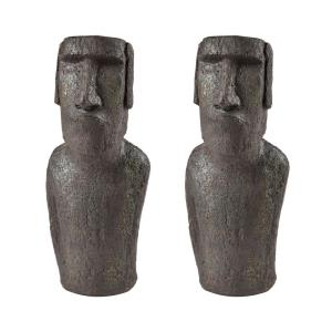 Moai Quarry - Modern/Contemporary Style w/ Retro inspirations - Composite Decorative Sculpture I (Set of 2) - 16 Inches tall 7 Inches wide