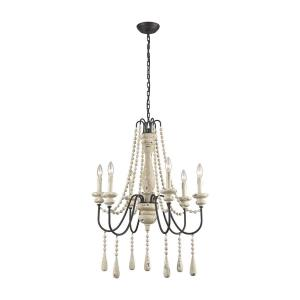 Sommieres - Transitional Style w/ Luxe/Glam inspirations - Metal and Wood 6 Light Small Chandelier - 32 Inches tall 25 Inches wide