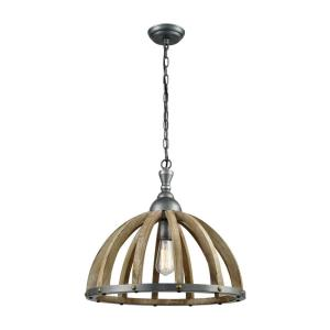 Barnstorm - Transitional Style w/ ModernFarmhouse inspirations - Metal and Wood 1 Light Pendant - 19 Inches tall 20 Inches wide