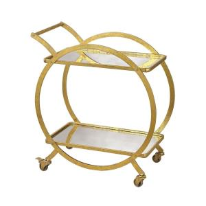 Modern/Contemporary Style w/ Luxe/Glam inspirations - Metal and Mirror 31.5 Inch Ring Bar Cart - 32 Inches tall 28 Inches wide