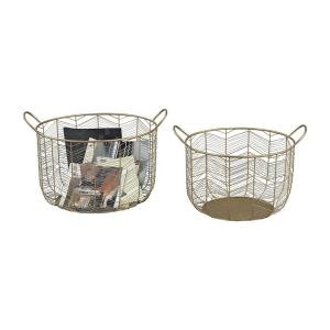 Tuckernuck - Transitional Style w/ Luxe/Glam inspirations - Metal Metal Bowl (Set of 2) - 16 Inches tall 19 Inches wide
