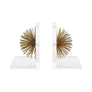 Glint - Modern/Contemporary Style w/ Luxe/Glam inspirations - Acrylic and Metal Bookend (Set of 2) - 8 Inches tall 6 Inches wide