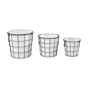 Early Light - Transitional Style w/ ModernFarmhouse inspirations - Metal Bin (Set of 3) - 12 Inches tall 12 Inches wide