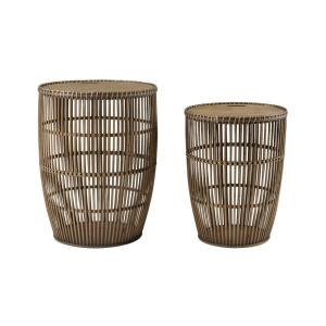 Island Life - Transitional Style w/ Coastal/Beach inspirations - Woven Bamboo Accent Table (Set of 2) - 21 Inches tall 16 Inches wide