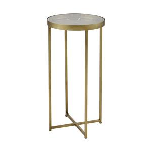Elix - Transitional Style w/ Luxe/Glam inspirations - Glass and Metal Accent Table - 24 Inches tall 12 Inches wide