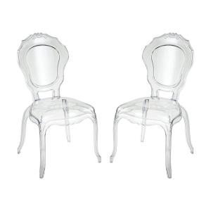 Vie En Rose - Modern/Contemporary Style w/ Luxe/Glam inspirations - Acrylic Chair (Set of 2) - 38 Inches tall 20 Inches wide