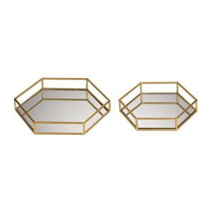 12 Inch Mirrored Hexagonal Tray (Set of 2)