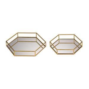"""12"""" Mirrored Hexagonal Tray (Set of 2)"""