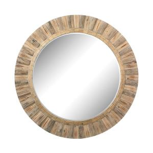 64 Inch Oversized Round Wood Mirror