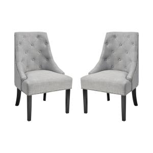 Nine Elms - Transitional Style w/ Luxe/Glam inspirations - Fabric and Foam and Wood Accent Chair (Set of 2) - 39 Inches tall 27 Inches wide