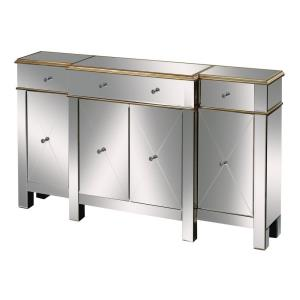 Bordeaux - Transitional Style w/ Luxe/Glam inspirations - Glass and MDF Buffet Server - 37 Inches tall 12 Inches wide