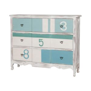Marina - Traditional Style w/ Coastal/Beach inspirations - Solid Mahogany 3-Drawer Chest - 38 Inches tall 48 Inches wide