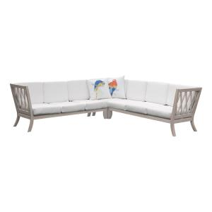 Hilton - Traditional Style w/ Coastal/Beach inspirations - Teak Outdoor Sectional - 36 Inches tall 78 Inches wide