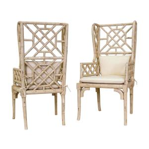 """Bamboo - 47"""" Wing Back Chair (Set of 2)"""