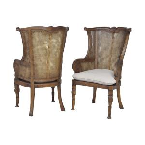 """Caned - 49"""" Wing Back Chair (Set of 2)"""