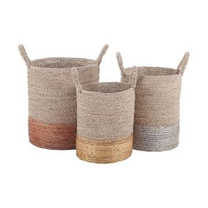 Archipelago - Transitional Style w/ ModernFarmhouse inspirations - Mixed Metallics Nested Basket (Set of 3) - 22 Inches tall 14 Inches wide