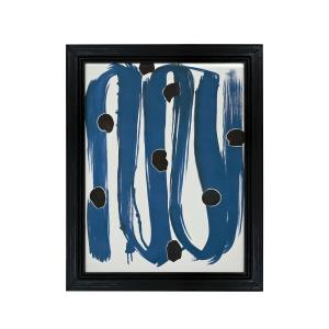 Blue with Dots - 43- Inch Handpainted Wall Art