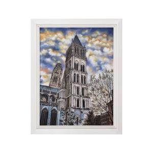 Euro Cathedral - 43- Inch Handpainted Wall Art