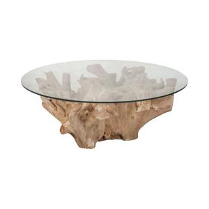 "Yava - 32"" Root Cocktail Table with Glass Top"