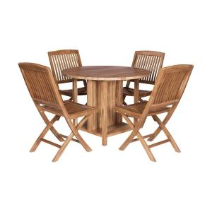 "Teak - 40"" Outdoor Drop-leaf Game Table with 4 Chairs (Set of 5)"