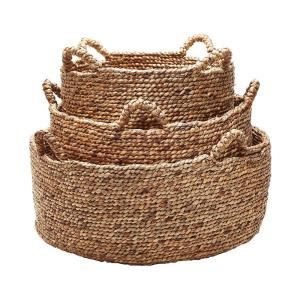 "17"" Natural Low Rise Baskets with H (Set of 3)"