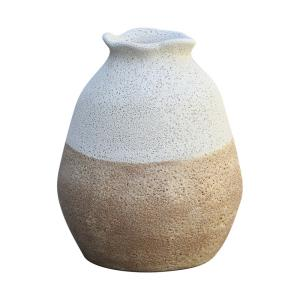 Zucca - Transitional Style w/ Coastal/Beach inspirations - Earthenware  Vase - 10 Inches tall 8 Inches wide