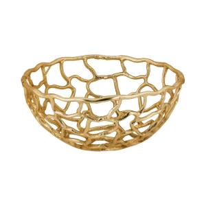 Free Form - Transitional Style w/ Luxe/Glam inspirations - Aluminum Small Bowl - 6 Inches tall 12 Inches wide