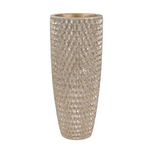 Phalanx Vase - Transitional Style w/ Luxe/Glam inspirations - Fiberglass Geometric Textured Vase - 41 Inches tall 16 Inches wide