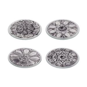 Assorted Floral - 4.25 Inch Glass Coasters (Set of 4)