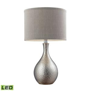 "Hammered Chrome - 21.5"" 9.5W 1 LED Table Lamp"