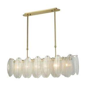 Hush - Modern/Contemporary Style w/ Luxe/Glam inspirations - Glass and Metal 6 Light Island - 12 Inches tall 47 Inches wide
